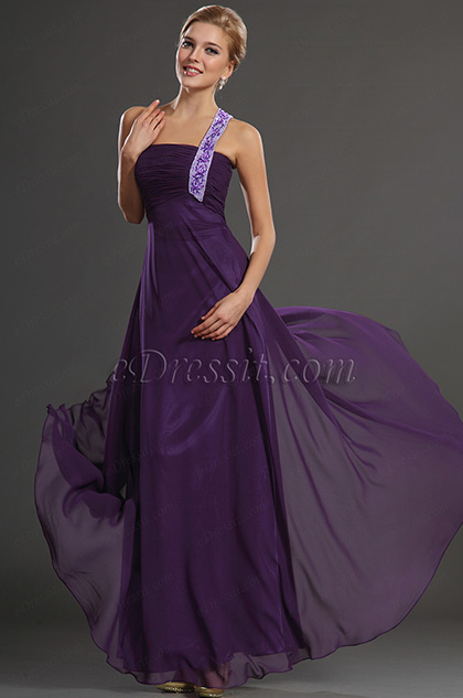 eDressit New Purple Single Shouder Prom Evening Dress Formal Gown