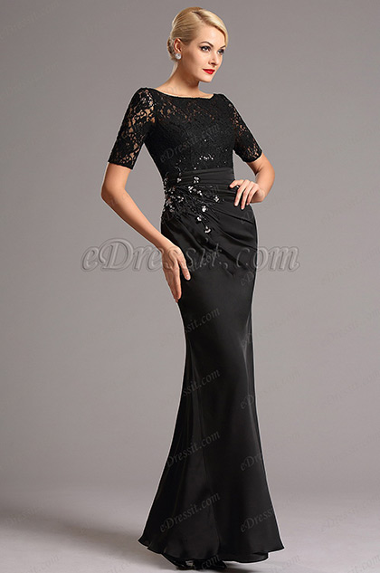 eDressit Black Sleeves Lace Mother of the Bride Dress (26161900)
