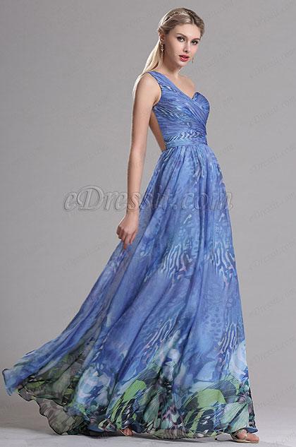 Blue One Shoulder Sweerheart Neckline Printed Prom Evening Dress (X00143705)