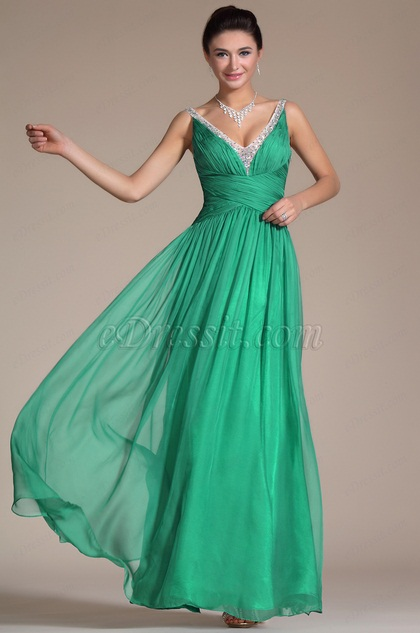 Turqoise Sexy V-neck Ruched Evening Dress(C36142204)