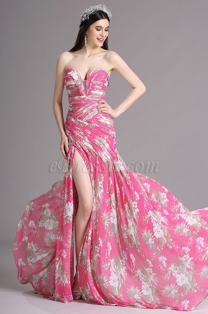 eDressit Pink Floral Strapless Sweetheart Printed Prom Summer Dress (X00120512)
