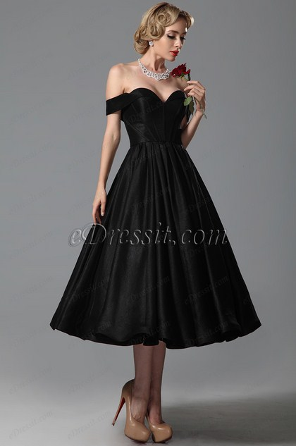 Sweetheart Off Shoulder Tea Length Party Dress (H04151600)