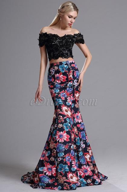 Две Части Вечернее Платье с Принтом (02164468)