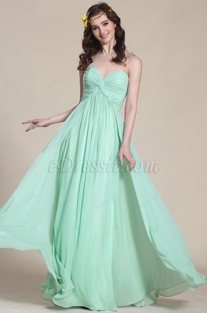 Sweetheart Mint Bridesmaid Dress Formal Gown (07153804)