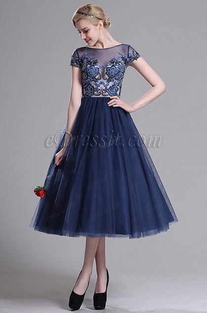eDressit Navy Blue Illusion Neck Cocktail Party Dress (04161805)