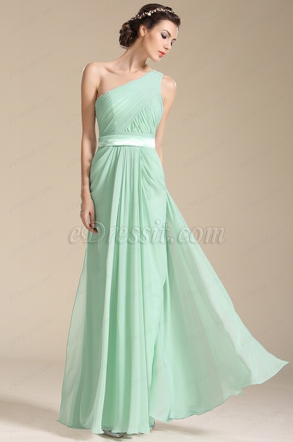 One Shoulder Light Green Bridesmaid Dress Evening Dress