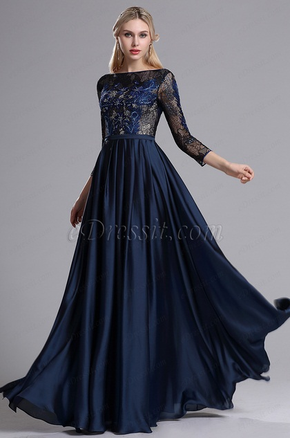 1294b137ad0 eDressit Blue Lattice 3 4 Sleeves Mother of the Bride Dress (26162805)