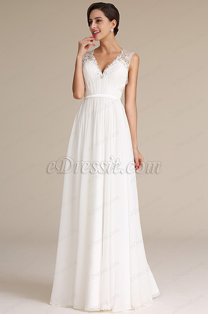 Plunging Neck Pleated Bodice Wedding Dress Bridal Gown 01160407
