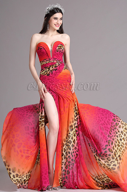 eDressit Leopard Print High Slit Strapless Sweetheart Summer Dress (X00120541)