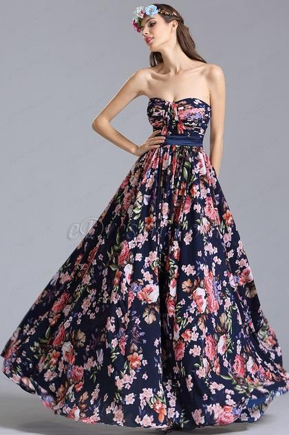 Вечернее Платье с Принтом с Декольте Сердечка(07151568)
