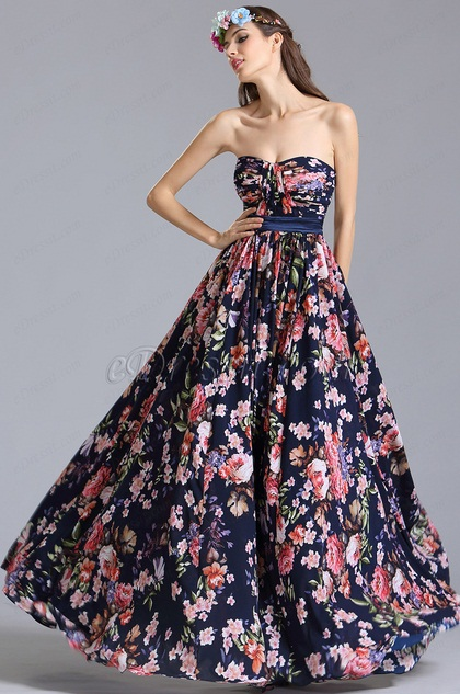 Strapless Sweetheart Summer Floral Dress Printed Dress (07151568)