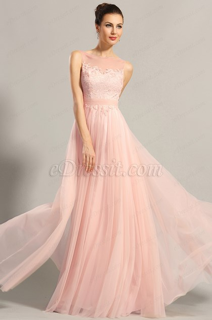 eDressit A Line Pink Sleeveless Evening Dress Formal Gown (00153601)
