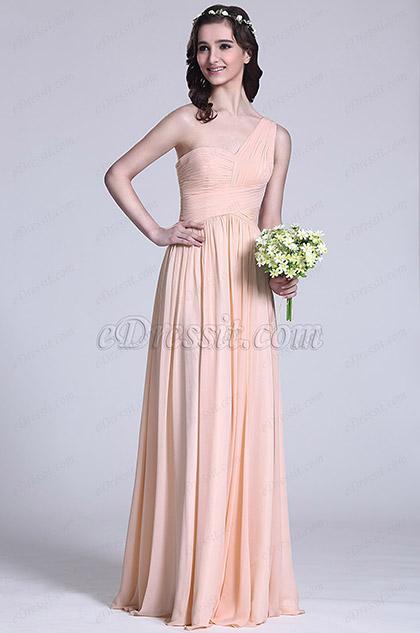 Robe demoiselle d 39 honneur saumon coupe asym trique 07151310 for Robes de demoiselle d honneur aqua pour mariage sur la plage