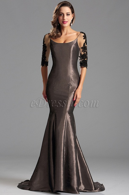 Half Sleeves Grey Formal Gown Evening Dress (X26151620)