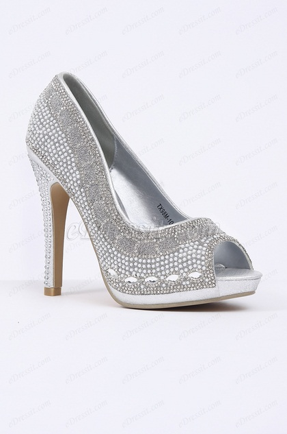 Silver Beaded Peep Toe High Heels (09150126)