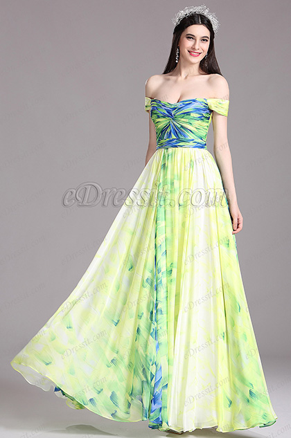 eDressit Off Shoulder Green Ruched Summer Printed Dress (X07151704)