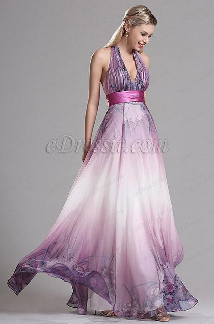 eDressit Purple Halter Floral A Line Evening Dress (X07158006)