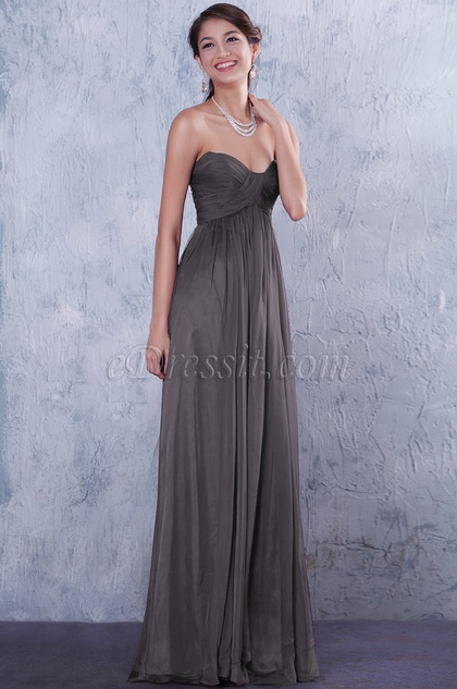 Strapless Sweetheart Grey Bridesmaid Dress Formal Dress (07156208)