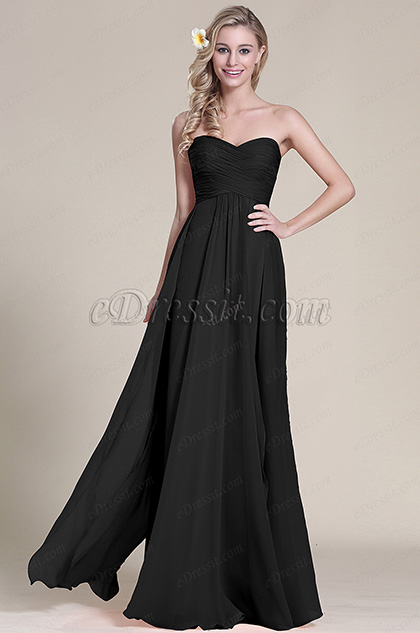 Elegant Strapless Sweetheart Black Evening Dress (07153300)