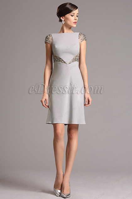 Grey Cap Sleeves Beaded Cocktail Party Dress (03160908)