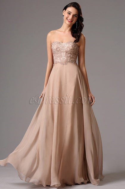 eDressit Strapless Lace Bodice Prom Ball Dress (00162046)