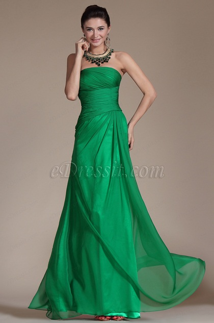 Green Strapless Pleated Evening Gown (C00142904)