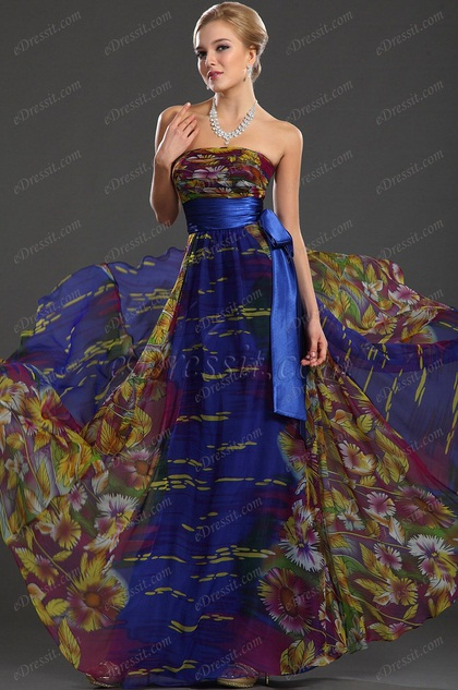 Printed Evening Dress Floral Dress (H00119268)