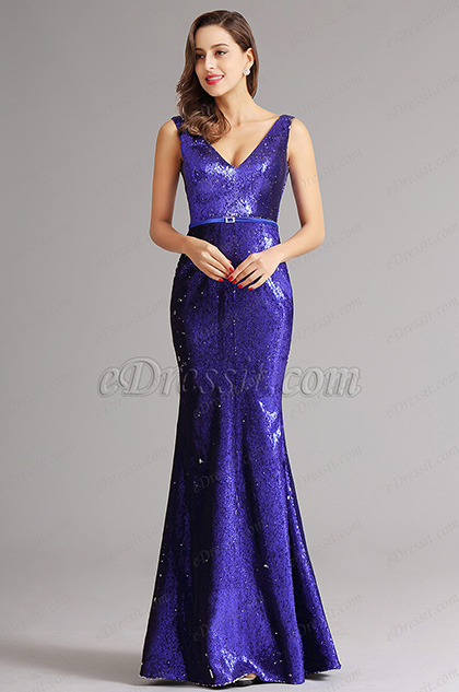 Sexy V Cut Neck Sequin Formal Dress Evening Dress (X00161705-3)