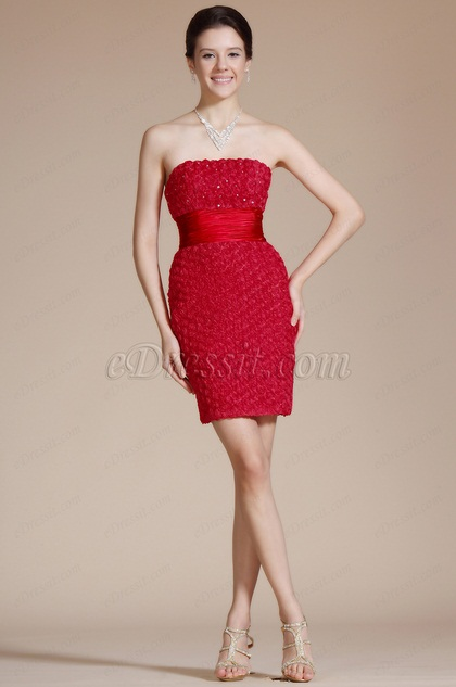 Red Strapless Flowers Cocktail Dress(C35140902)