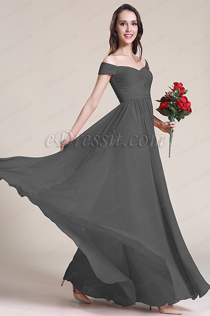 Off Shoulder Pleated Bodice Grey Bridesmaid Dress Evening Dress (07151708)
