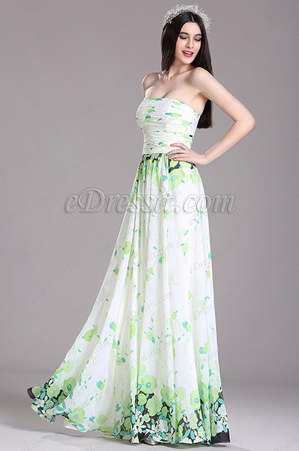eDressit Green Strapless Floral Printed Summer Dress (X07151404)