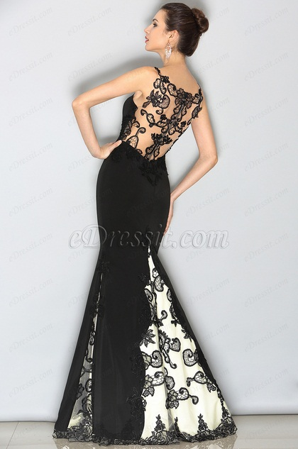 eDressit Чёрное Кружевное Вечернее Платье с  Апликациями (02153300)