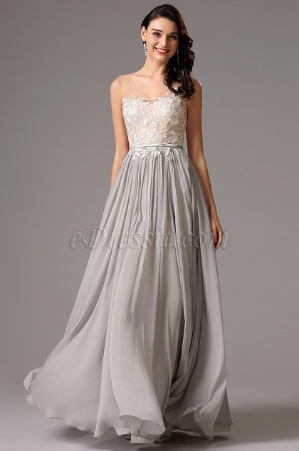 Sleeveless V Neck Lace Bodice Grey Formal Dress Evening Dress (00162208)