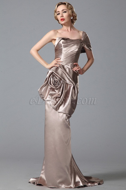Gorgeous One Sleeve Floral Sweep Train Evening Gown (00151846)