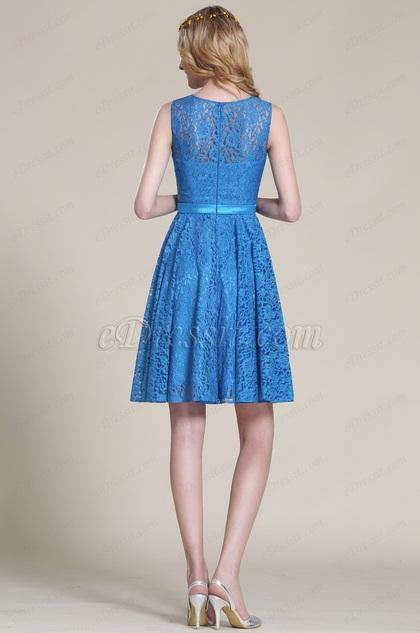 Edressit robe cocktail demoiselle d 39 honneur bleue dentelle for Robes de demoiselle d honneur aqua pour mariage sur la plage