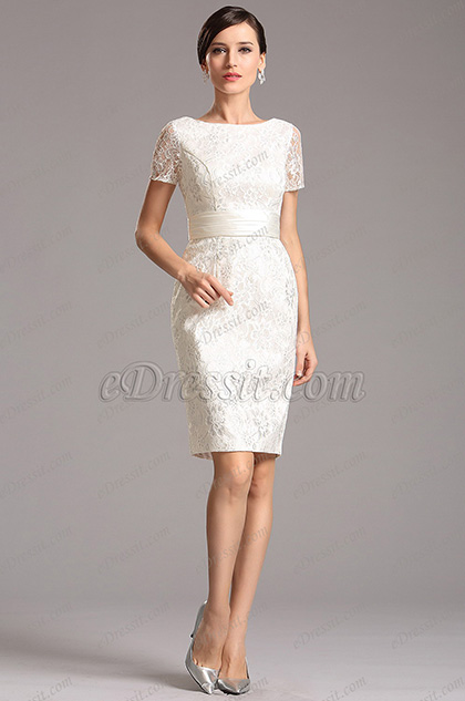 eDressit Short Sleeves White Lace Dress Party Dress (X07152307)