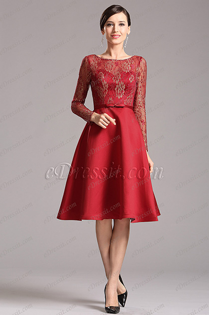 Long Sleeves Illusion Sweetheart Burgundy Party Dress (X04151817)