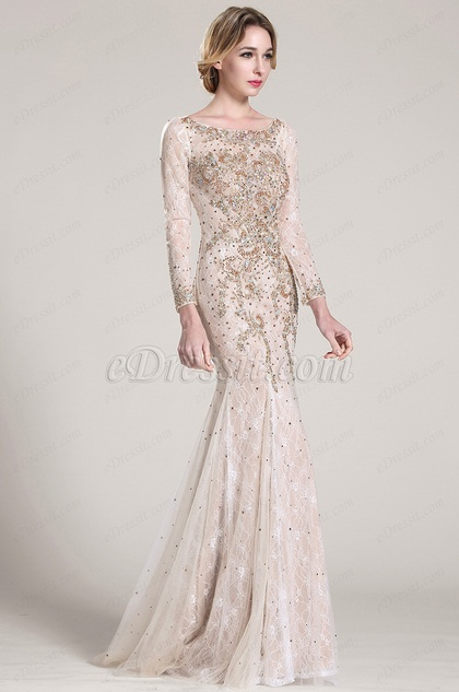 Long Sleeves Beaded Lace Formal Dress Prom Dress (C36152414)