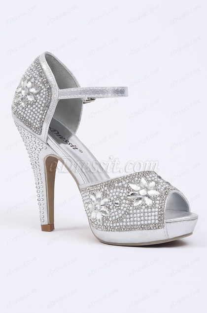 Silver High Heels With Crystals (09150426)