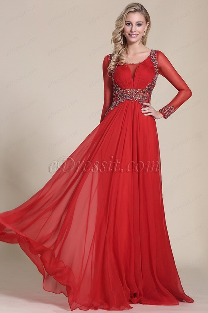 eDressit Long Sleeves Beaded Bodice Red Prom Dress (C36150602)