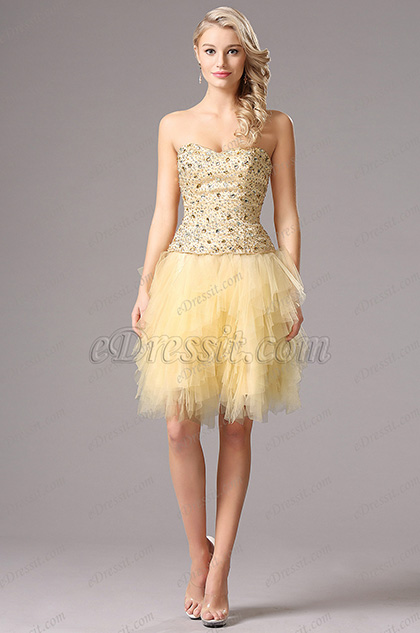 Ärmellos Mieder Beige Homecoming Kleid Party Kleid (35160114)