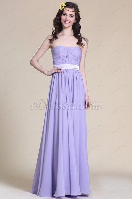 A Line Strapless Lavender Evening Dress Bridesmaid Dress (07151506)