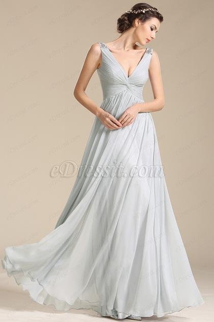 Tiefer V-Ausschnitt Perlen Schultern Abendkleid Ballkleid (00155108)