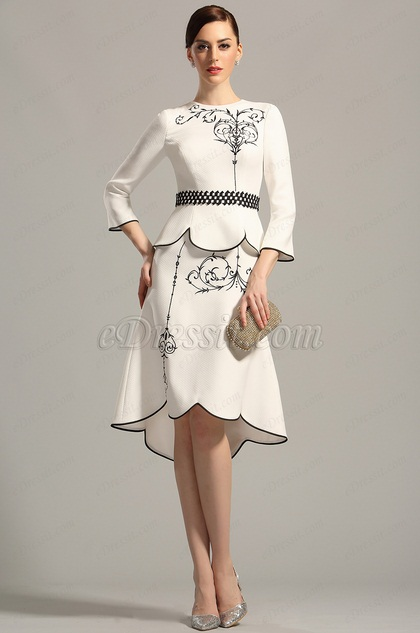 Vintage Long Sleeves Embroidery Mother of the Bride Dress (26153207)