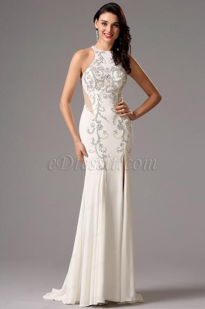 Halter Neck Side Slit Illusion Back White Formal Gown (36162407)