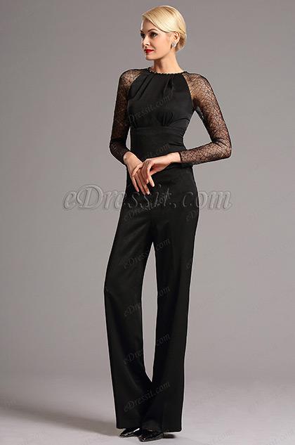 Stylish Lace Long Sleeves Black Jumpsuit (03160800)