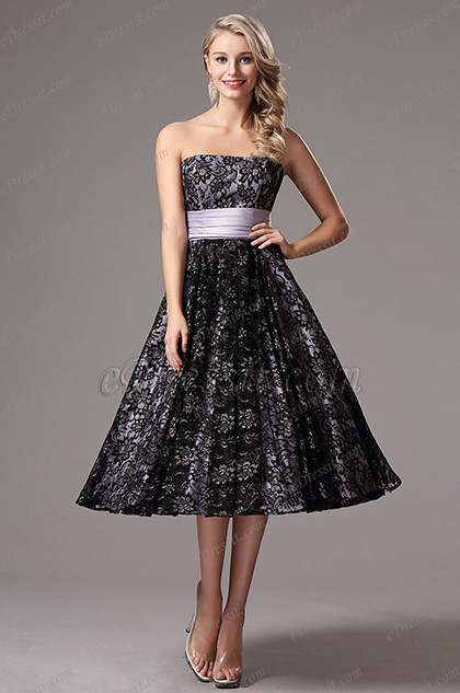 Flattering Strapless Lace Tea Length Formal Dress (X04145106)
