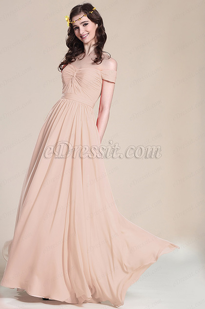 Elegant Off Shoulder Rosy Brown Bridesmaid Dress Formal Dress (07151746)