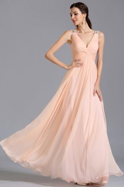 eDressit robe de soirée longue fluide rose col en V (00155101)