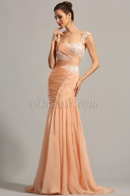 Floral Capped Sleeves Embroidered Peach Formal Dress (02154001)